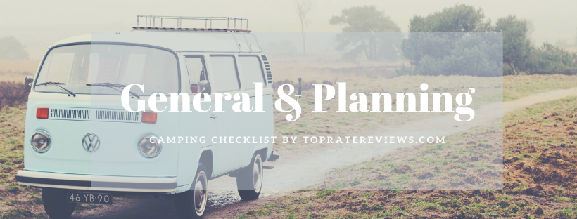 Camping Checklist - General and Planning