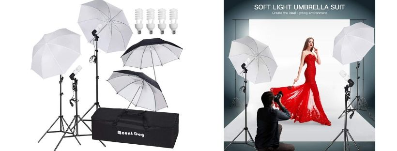 MountDog Photography Umbrella Continuous Lighting Kit