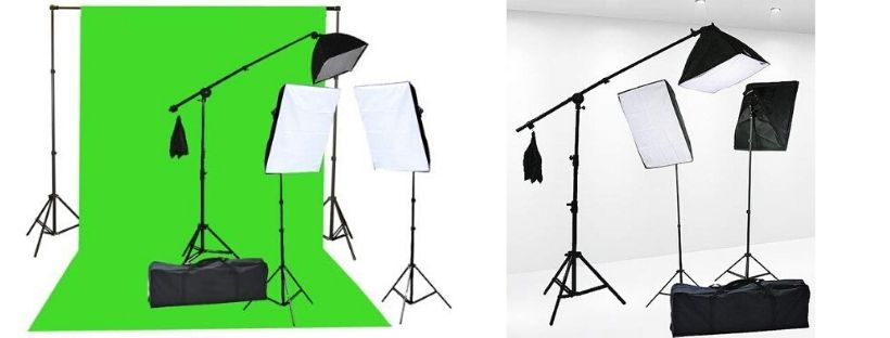 Fancierstudio Chromakey Green Screen Lighting Kit