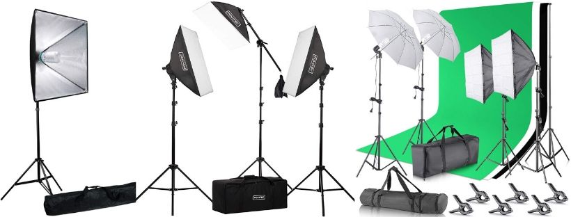 White and Green Muslin Backgrops Background Support System and Black CowboyStudio Complete Photography//Video Studio Triple Light Kit with Lighing Kit