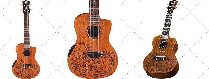 -Luna Tattoo Concert Mahogany AcousticElectric Ukulele with Preamp