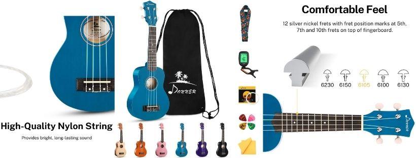 -Donner DUS-10B Soprano Ukulele Ukelele Beginner Kit for Kids