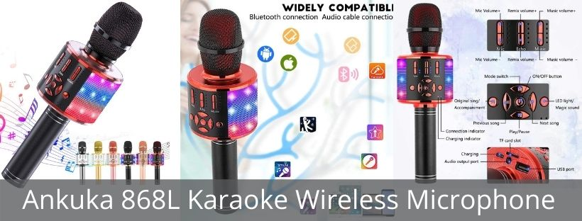 Ankuka 868L Karaoke Wireless Microphone for kids