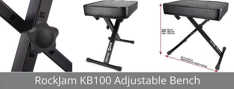 RockJam KB100 Adjustable Padded Keyboard Bench