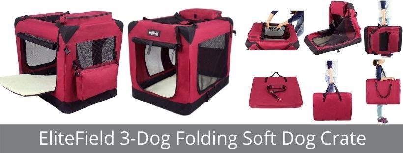 EliteField 3-Dog Folding Soft Dog Crate